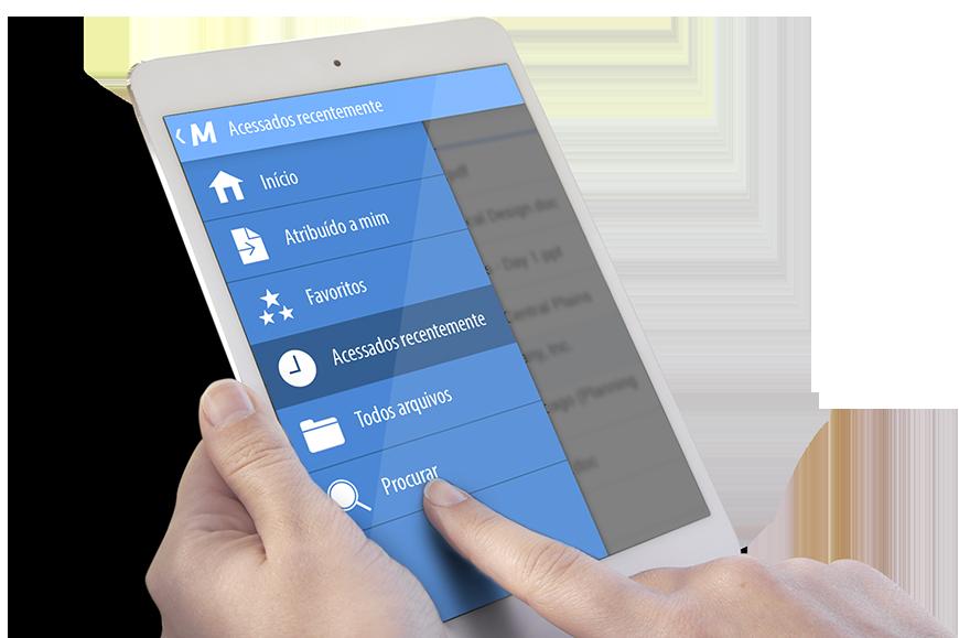 gerenciamento eletrônico de documentos dedos tablet GED documentos